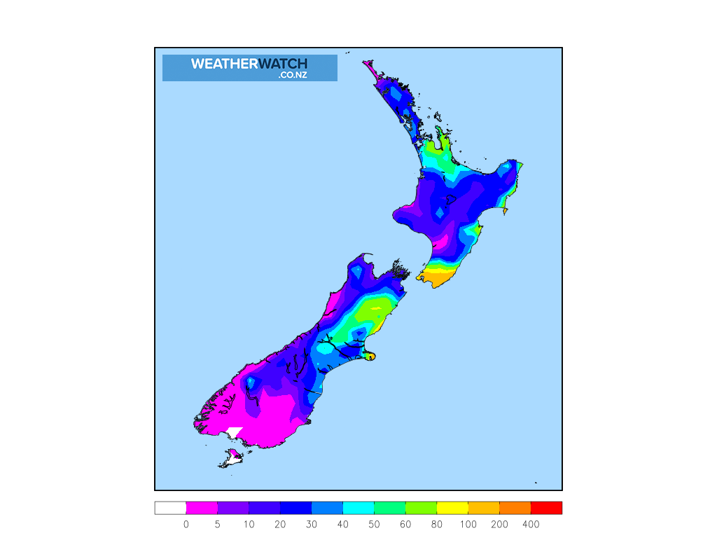 Accumulative rainfall for 7:00am on Tue 31 March 2020