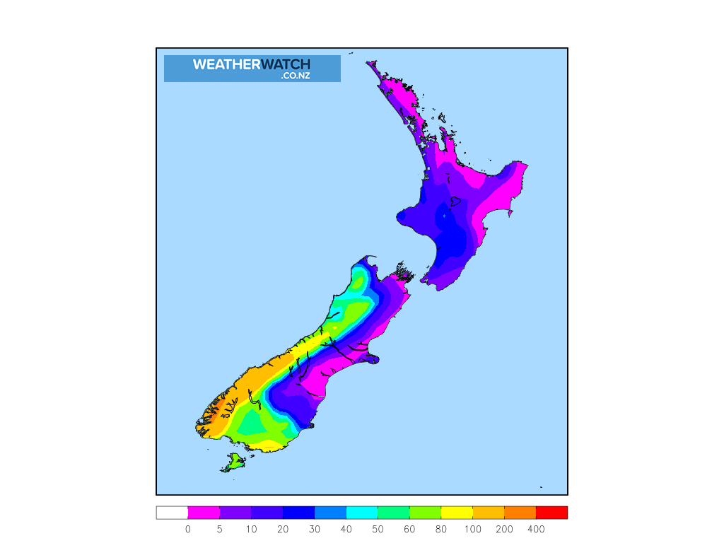 Accumulative rainfall for 7:00am on Sun 4 October 2020