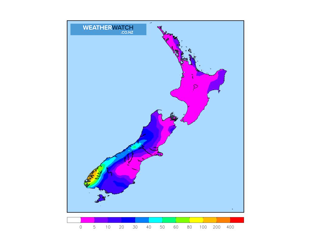 Accumulative rainfall for 7:00am on Mon 1 February 2021