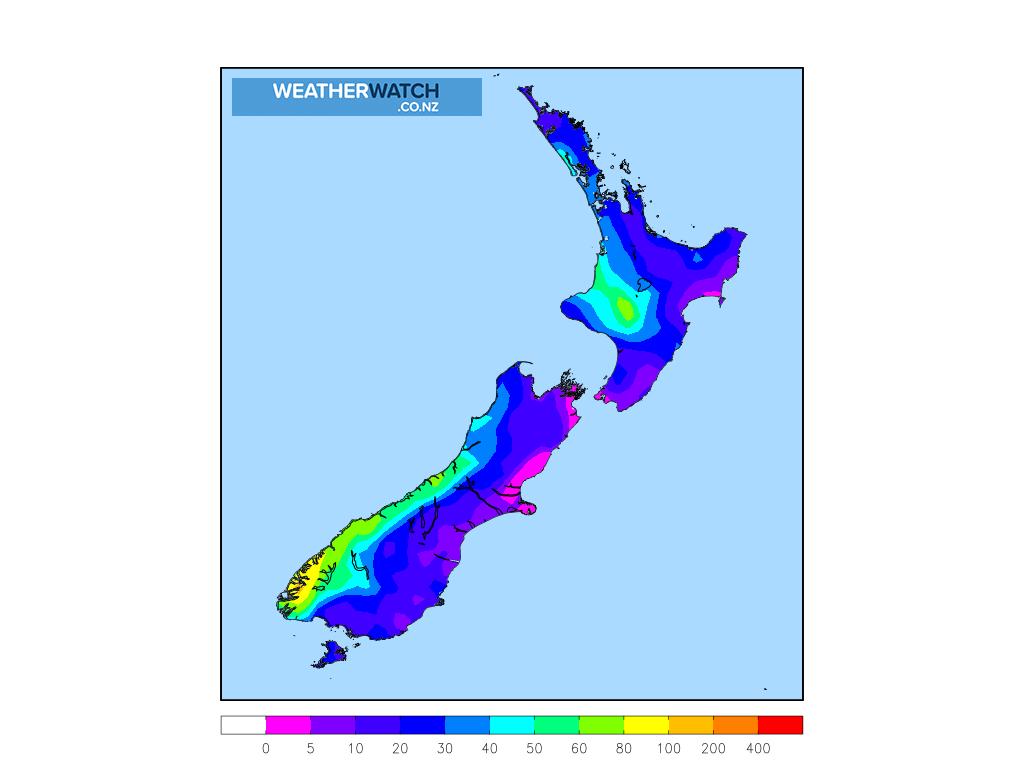 Accumulative rainfall for 7:00am on Fri 5 March 2021