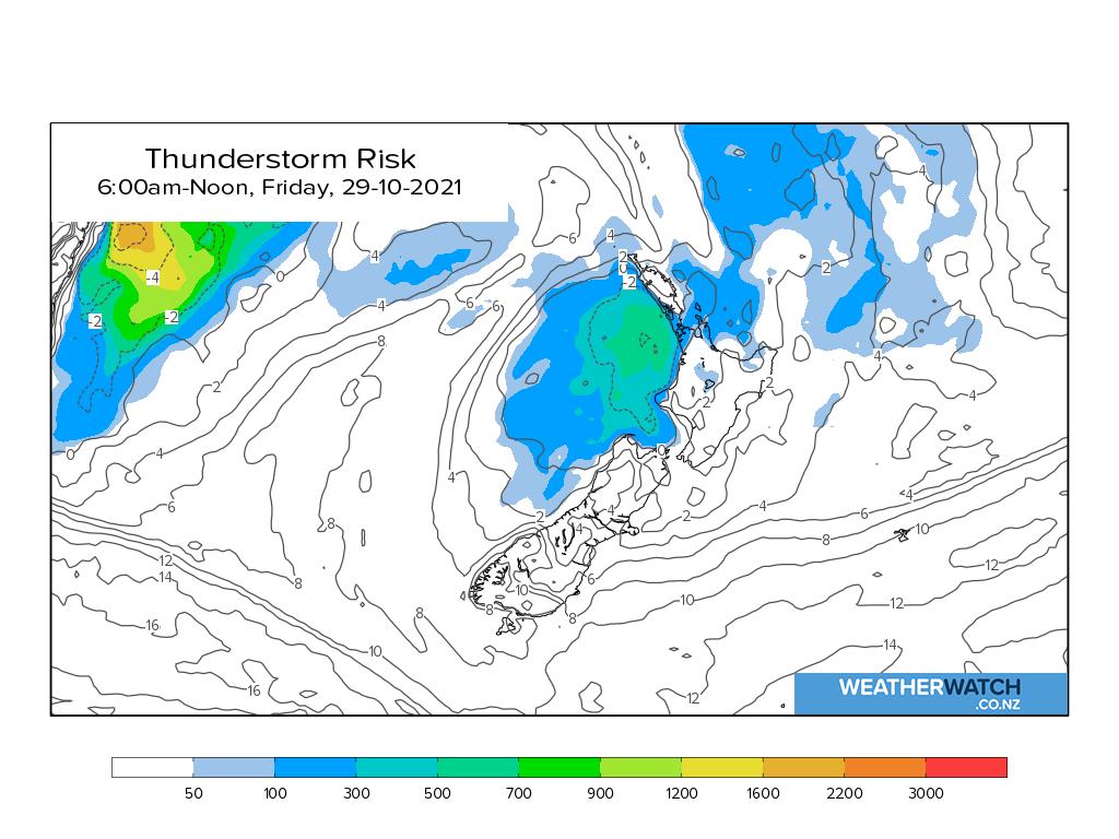 Thunderstorm risk for 7:01am on Fri 29 October 2021