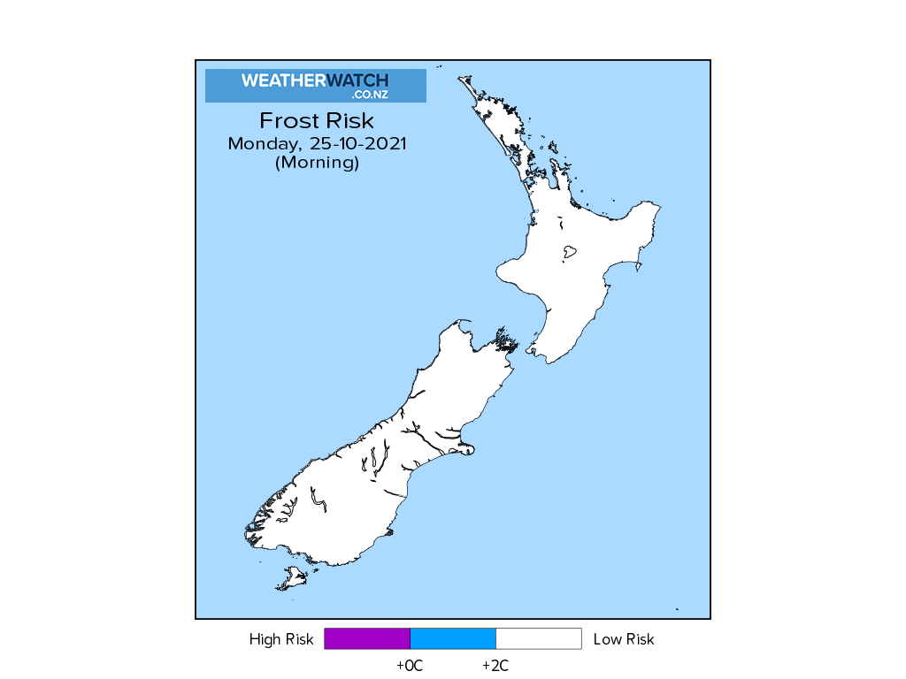 Frost risk for 1:01am on Mon 25 October 2021