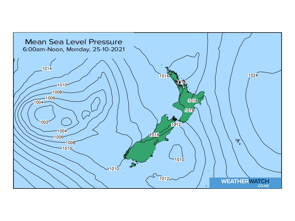Mean sea level pressure for 7:01am on Mon 25 October 2021