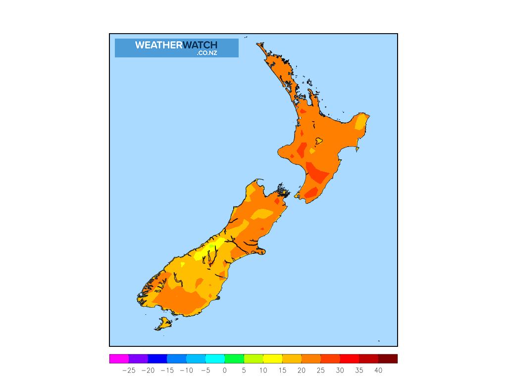 Maximum temperature for 1:00pm on Sat 27 February 2021