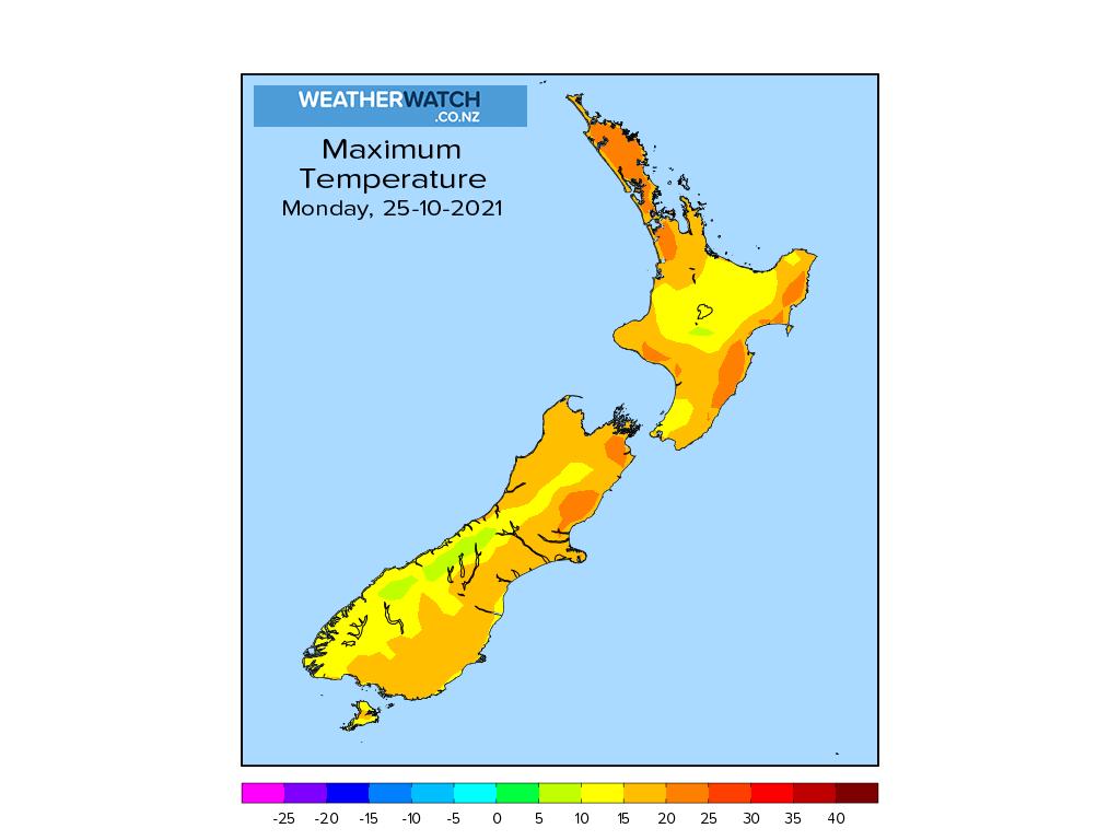 Maximum temperature for 1:01pm on Mon 25 October 2021