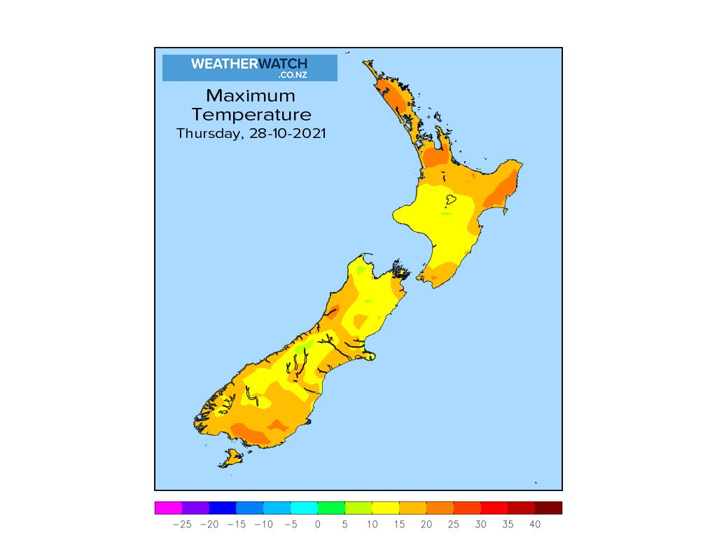 Maximum temperature for 1:01pm on Thu 28 October 2021