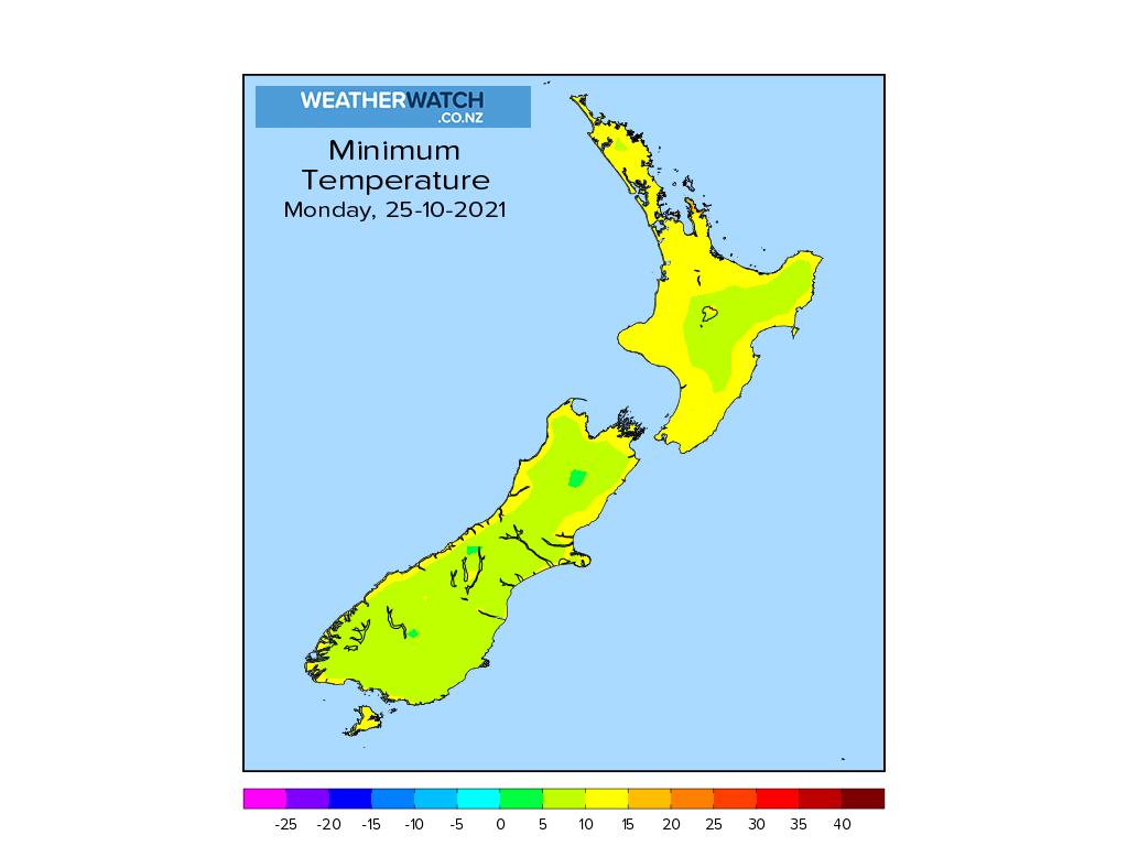 Minimum temperature for 1:01am on Mon 25 October 2021